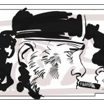 Denis Bajram dessine sur l'écran.